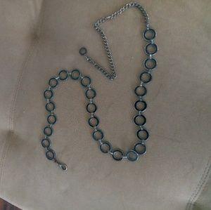 Silver chain belt with black enamel